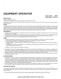 resume example for heavy equipment operator templates