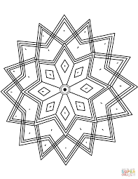 indian pattern with octagram star coloring page free printable