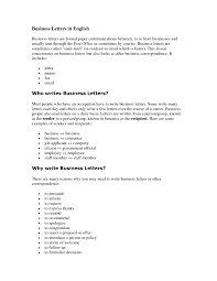 business letters in english the letter sample
