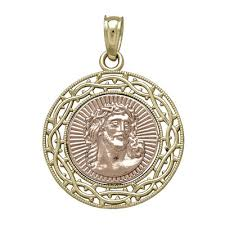 necklace gold jesus images Tesoro 14k two tone gold jesus medallion pendant jcpenney