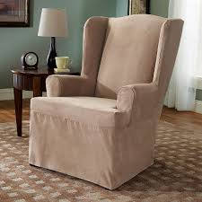 sure fit slipcovers wing chair suede slipcover wing chair sure fit target