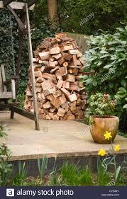 Backyard Seasoning Circular Wood Stack Or Holz Hausen With Oak Firewood Seasoning In