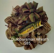 outdoorsman or mesh and burlap door wreath fishing