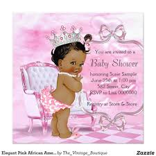 elegant pink african american baby shower 5 25x5 25 square paper
