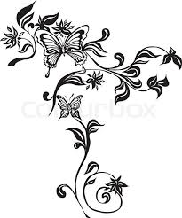 ornament with butterflies and flowers stock vector colourbox