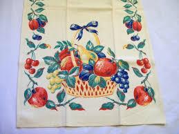 kitchen towel designs vintage tea towel fruit design dish towel basket of fruit 1940s