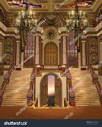 church chandeliers fantasy palace hall fancy chandeliers stock illustration 47784388