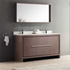 Overstock Bathroom Vanities by Fresca Allier 60 Inch Grey Oak Modern Double Sink Bathroom Vanity