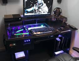 Gaming Station Computer Desk Fascinating Gaming Pc Costum Desk With Glass Top And Shelf Above