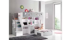 bureau en mezzanine lit mezzanine sacha pour les enfants coloris blanc et gris avec un