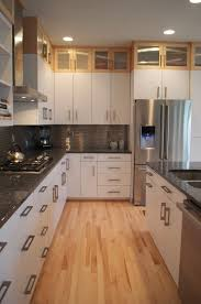 How To Clean Maple Kitchen Cabinets Concept White Cabinets Low With Wood Above Kitchen