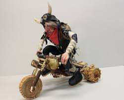 Harley Home Decor by Motorcycle Rider Doll Harley Davidson Ooak Doll Wooden Bike