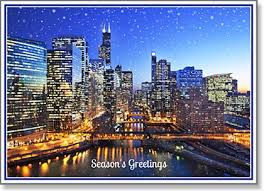 seasons greetings snowy chicago river at sunset cards