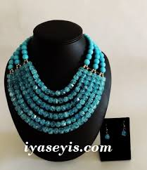 blue beads necklace images 6 rows bip glass beads necklace blue iyaseyi 39 s african fashion jpg