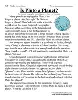 sixth grade reading comprehension worksheet is pluto a planet
