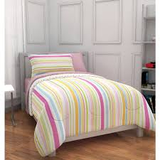 mainstays kids pink rally stripe bed in a bag bedding set
