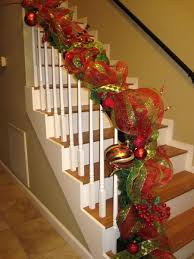 Christmas Decorations Banister Christmas Staircase Decorating Ideas Pink Lover