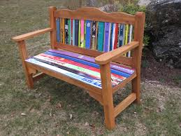 Recycled Adirondack Chairs Classy Garden Style Bench Made With Recycled Skis New England Ski
