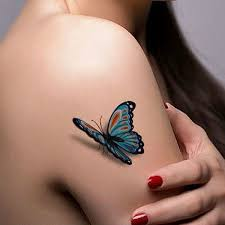 3d butterfly on right shoulder for