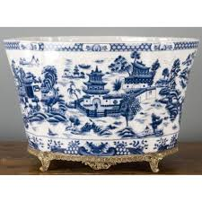 porcelain and bronze ormolu blue willow planter jardiniere blue white