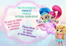 printable shimmer and shine birthday party invitationsprint