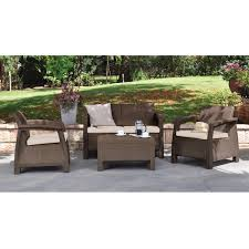 Modern Outdoor Chairs Plastic Modern Patio Table Ottoman In Brown Outdoor Weather Resistant