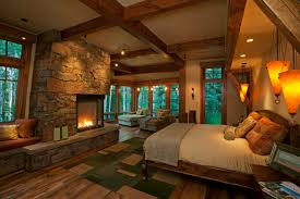 rustic master bedroom ideas attractive corner fireplace stone wall exposed around also barn