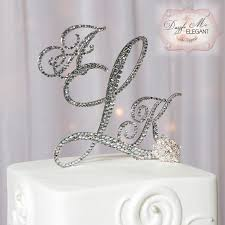 wedding cake toppers initials swarovski crystals monogram cake topper with silver initial