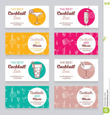 collection of business cards for cocktail bar stock vector image