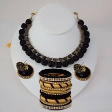 black necklace sets images Stylish silk thread black necklace set with bangles indian designs jpg