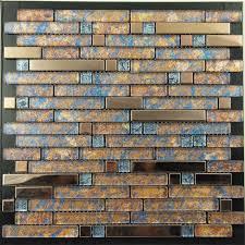Brushed Stainless Steel Backsplash by Metal And Glass Gold Stainless Steel Backsplash Wall Tiles Blue