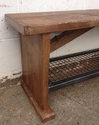 reclaimed timber bench with steel mesh shoe shelf metroretro