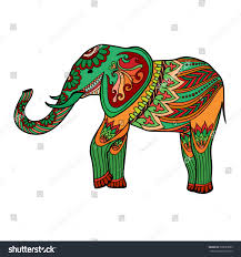 indian elephant traditional asian style ornate stock vector