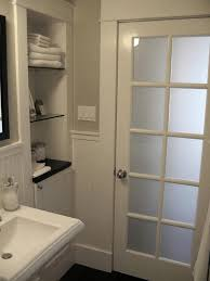 frosted glass door this is the plan for the basement bathroom and