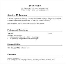 free sample resumes templates chronological resume template 23