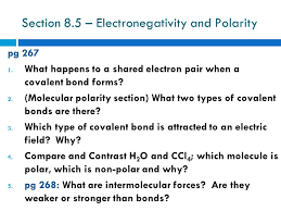 cornell notes topic sect 8 5 electronegativity and polarity
