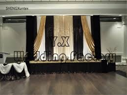 Black Gold Curtains Cheap Price Wedding Backdrop Curtains Stage Background White