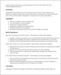 Resume For Non Profit Job by Professional Recruiting Assistant Templates To Showcase Your