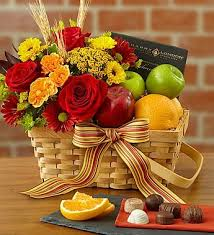 fruit and flower basket charming basket filled with orchard fresh apples oranges and sweet