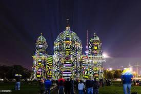 berlin cathedral in special lights with many it