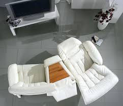 White Leather Armchairs Home Theater Recliner Seats Seating Chair Theatre Sofas White