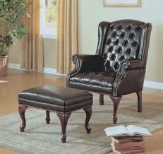 monarch specialties tufted wing chair and ottoman