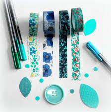 teal turquoise and blue floral washi tape for planner erin