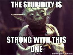 The Force Is Strong With This One Meme - the stupidity is strong with this one yoda meme generator