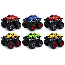 pack 6 champion 4wd big foot suv mini monster friction toy