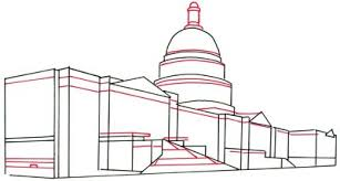 3 horizontal lines how to draw the united states capitol