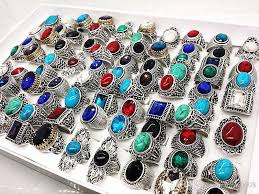 stone vintage rings images Wholesale many mix style antique silver vintage jewelry stone jpg