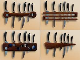 wood design creative idea awesome modern brown wood floating knife racks