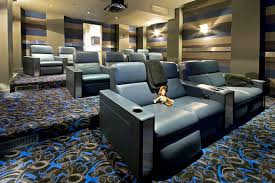 Home Theater Sofa by Interior Home Theater Decoration Using Light Brown Home