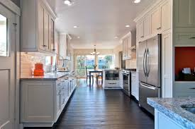 white country galley kitchen with old world charm of a french
